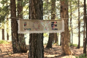 burlap and lace love banner