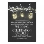 Vintage Black & White Silhouette Mason Jar Wedding Invitations